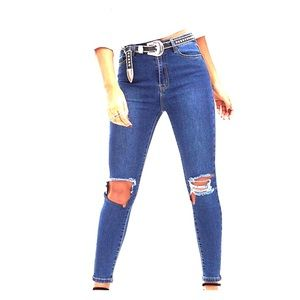 Prettylittlething high rise open knee skinny jeans